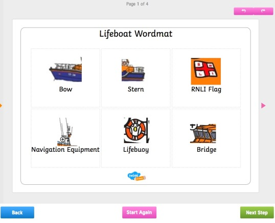 Lifeboat wordmat printable resource