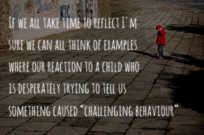 Challenging behaviour quote boy standing alone