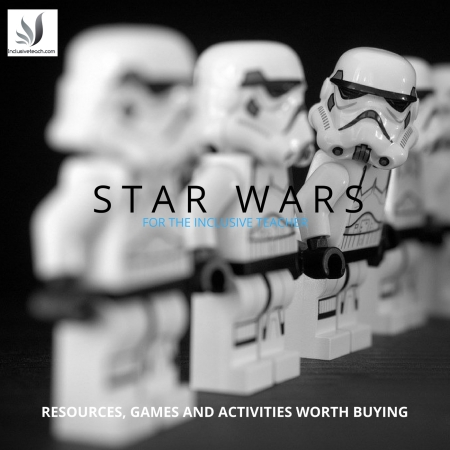 Lego stormtroopers in a line text saying star wars for the inclusive teacher