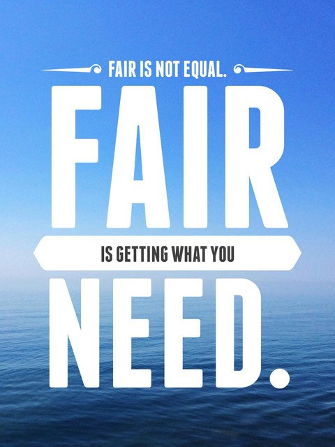 Inclusion quote Fair is not equal fair is getting what you need