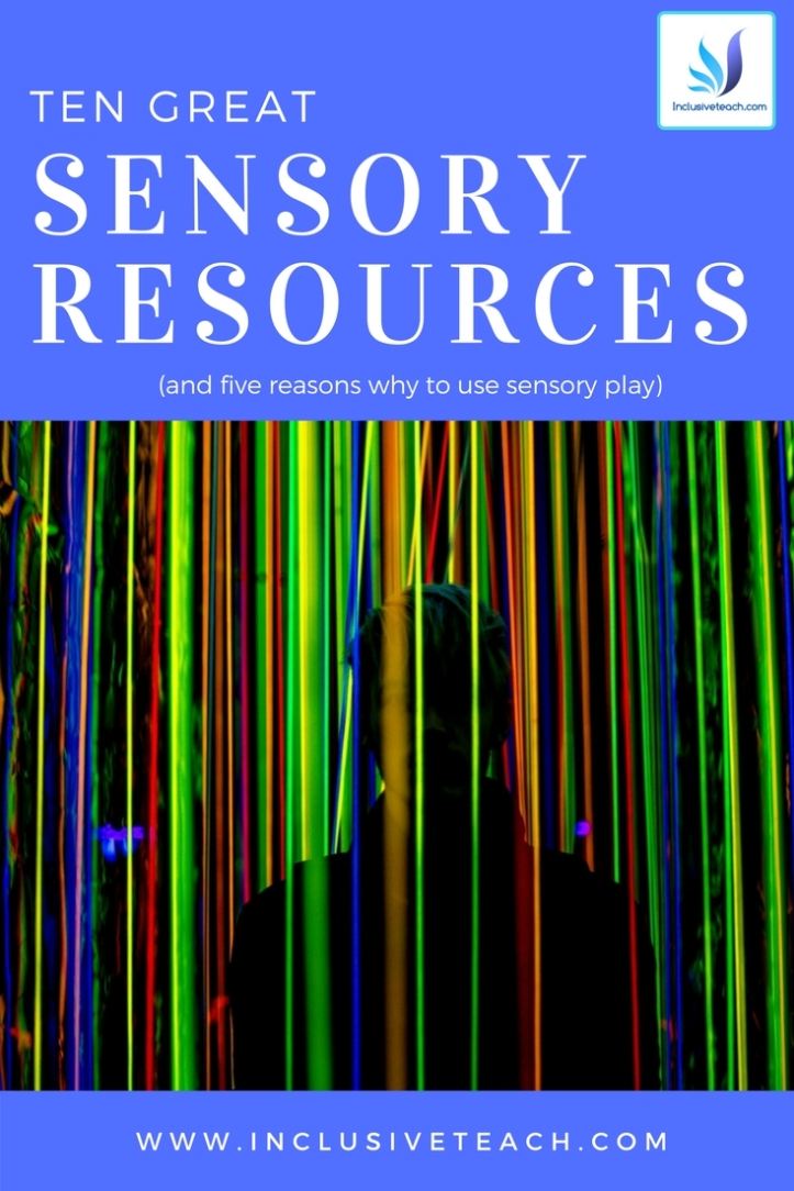 Graphic showing sensory lights text says ten great sensory resources